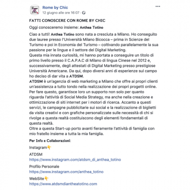 rome by chic parla di anthea totino fondatrice di atdsm a milano